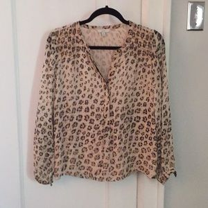 Joie 100% silk over blouse brown print